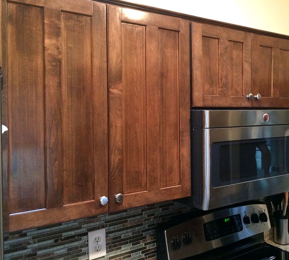 Stain maple cabinets with dark wook kitchen kitchen for Maple cabinets
