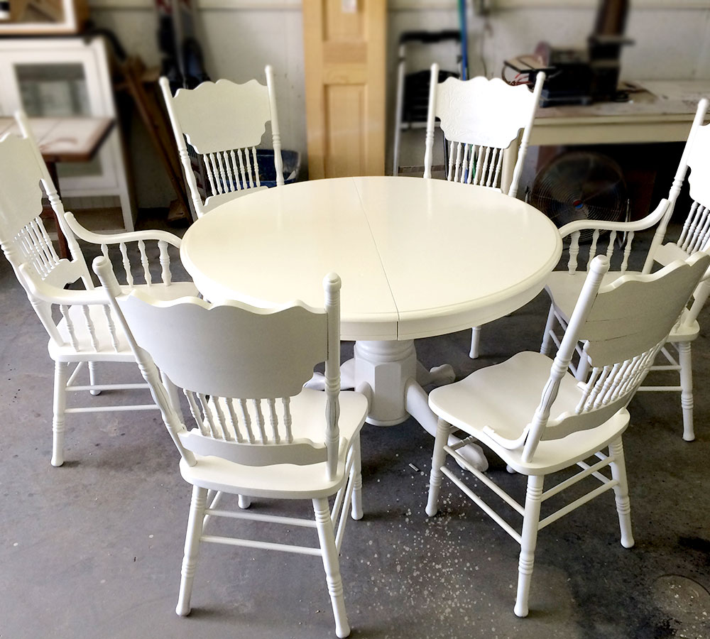 D313 Modern Dining Room Set In White Lacquer Finish: White Lacquer Solid Oak Dining Room Set Refinish