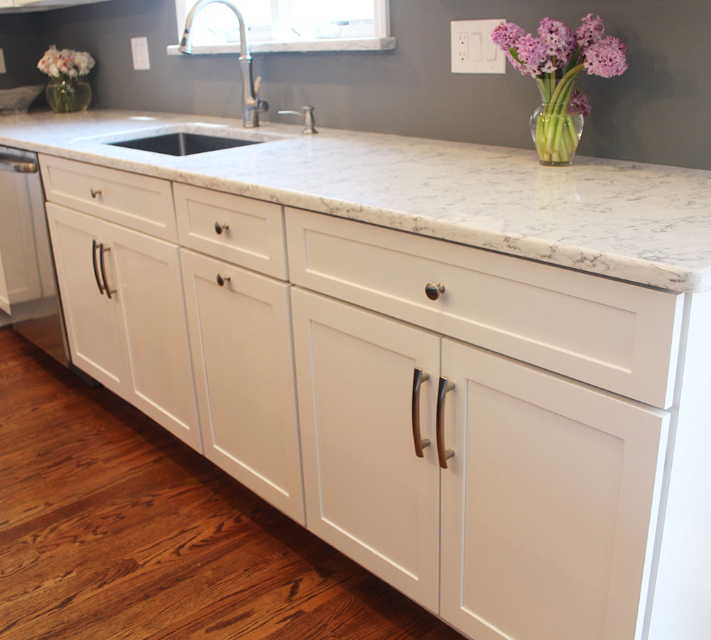 Refinished Maple Cabinets In White Tinted Lacquer ...